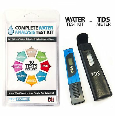 Water Test Kit Complete w/TDS Meter - Home Testing w/Results In Minutes