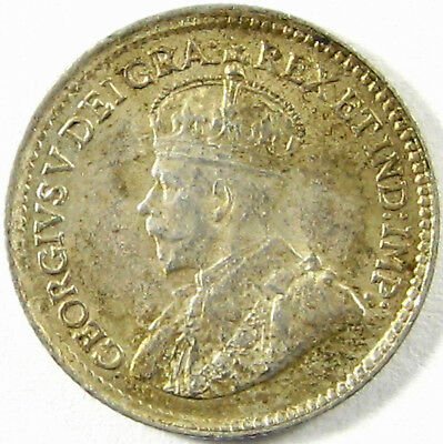 1919 Canada  5 Cents  Km# 22 Silver  Nearly Uncirculated Plus