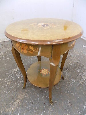 vintage,round,2 tier,birds eye,maple,floral,cabriole legs,end table,side table