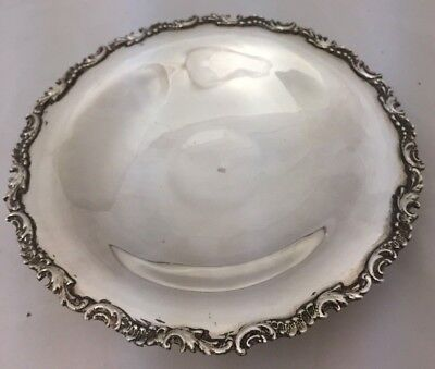 Antique 800 European Sterling Silver Footed Serving Bowl Dish Ornate Edge 197G