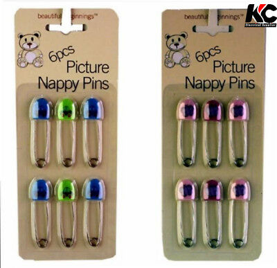 6 Pack Large Nappy Pins Terry Nappies Safety Pin Baby Diaper Change Fasteners