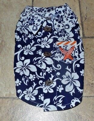 MM Pet Dog Hawaiian Print Shirt with Surfboard Embroidery & Fish Buttons, XS