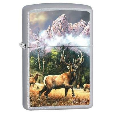 Zippo Lighter - Elk Call to Challenge Satin Chrome