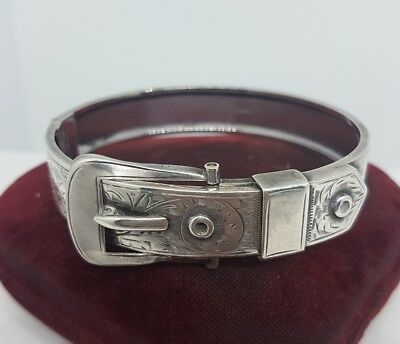Victorian Antique Silver Opening Buckle Bangle Bracelet Ornate Foliate
