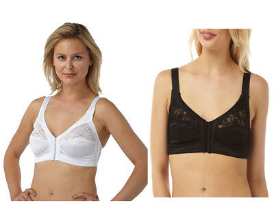 f54b4349eb5 Marlon Ladies Women s Front Fastening Soft Cup Non Wired Bra Size 34-48 Cup  B-E