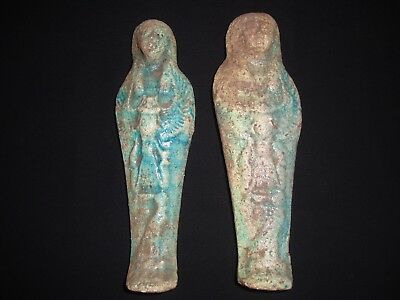 Rare Antique Ancient Egyptian Statue 2 USHABTI Shabti winged Scarab 300-350 BC