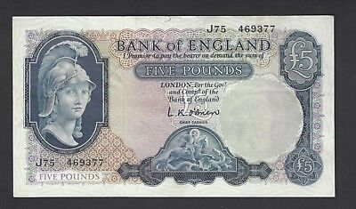 England 5 Pounds ND (1957-61) First Helmeted Britannia P371 XF