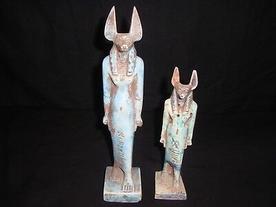 Rare Antique Ancient Egyptian 2 Statues God Anubis faience 1850-1760 BC