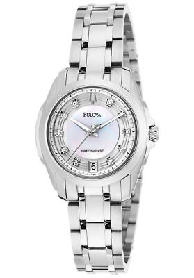 NEW Bulova 96P115 Precisionist Longwood White MOP Dial Silver Tone Womens Watch