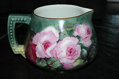 Antique JEAN POUYAT LIMOGES Cider Lemonade Pitcher JPL Water Jug ROSES 1891-1932
