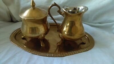 Set Small Solid Brass India Jar, Tea Caddy And Plate Hand Made