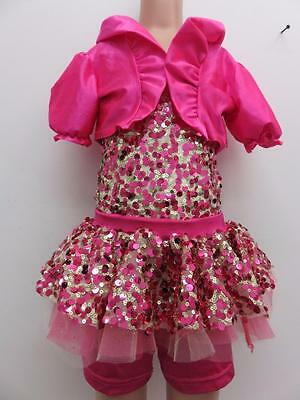 Dance Costume Large Child Hot Pink Gold 2-in-1 Jazz Tap Solo Competition