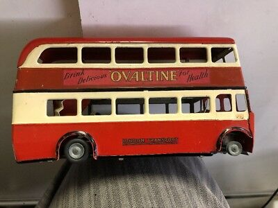 Vintage Tri-Ang-Minic Ovaltine Antique Tin Toy London Double Decker Bus