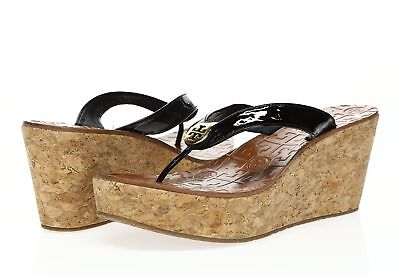 3c69772b3cd4 WOMENS TORY BURCH Thora black patent wedge sandals sz. 9.5 M ...