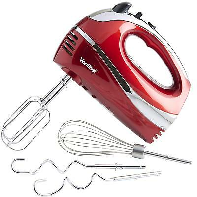 VonShef Red Electric Hand Mixer Whisk With Stainless Steel Attachments, 5-Speed