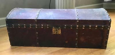 "Antique Leather Covered Wood Hump Back Trunk Doll Or Childs ~25"" Long Brass"