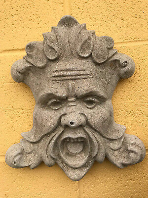 Vintage WEATHERED Concrete Garden Wall Hanging North Wind Face Mask 25 years+