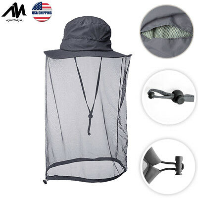 f4e033e6ac3f4 Outdoor Bucket Hat With Head Face Net Anti-Mosquito Bug UV Protection Sun  Cap