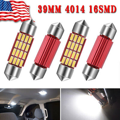 20X Pure White 39MM Festoon 16SMD Led Interior Map Dome License Lights Bulbs