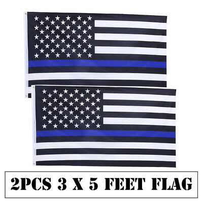 2Pcs 3x5 FT American police Flag Thin Blue Line Black & White Policemen Support