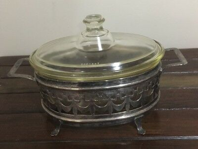 Vintage Pyrex Casserole Dish & Silver Stand Made In England 1940's