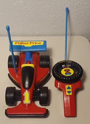 Vintage 1992 Fisher Price #1 Remote Control Race Car 2085 Red Works Great!