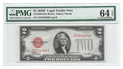 1928E $2 Legal Tender, Us Note, Pmg Choice Uncirculated 64 Epq Banknote