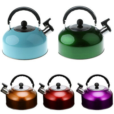 Stainless Steel Whistling Coffee Tea Kettle Camping Boat Water Pot & Handle