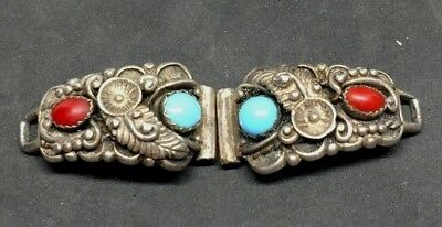 VTG Sterling Silver Turquoise And Coral Watch Tips Signed STC Navajo? E14