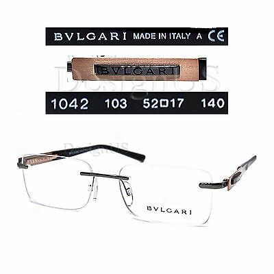 e09d7600b6d BVLGARI 1042 103 Rimless 52 17 140 Eyeglasses Rx Made in Italy - Authentic