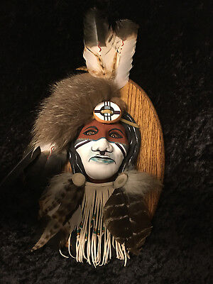 "Native American Indian Hand Made mounted Clay Mask Glass Eye's ""Stunning"""