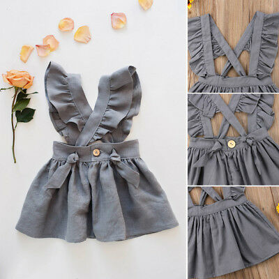 NEW Solid Girl Dress Princess Baby Cotton Summer Party Dress Cross Strap Dresses