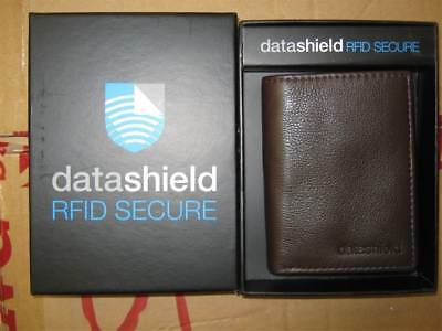 Men's 23cm,Three Fold Bill Wallet, Datashield RFID Secure, Brown, Leather.