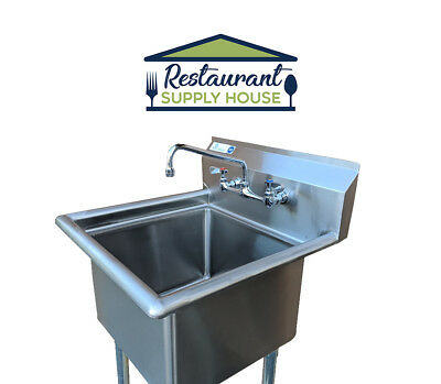 """Stainless Steel 23"""" X 23"""" 1 Compartment Sink with Faucet & Wall Mount Kit NSF"""