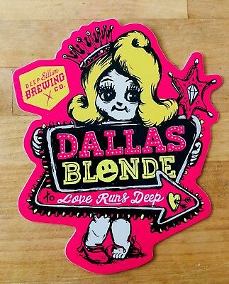 "Deep Ellum Brewing Dallas Blonde Sticker 3.50"" X 4.375"""" Pink"