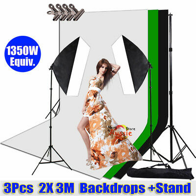 1350W Photography Studio Softbox Lighting 3pcs Screen Backdrop Support Stand Kit