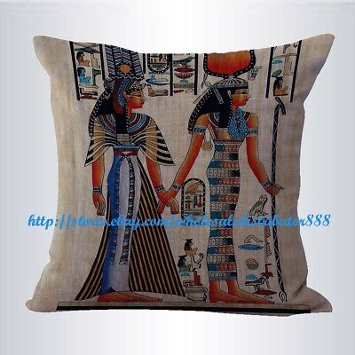 US SELLER-pillow covers Isis and Queen Nefertari Ancient Egyptian cushion cover