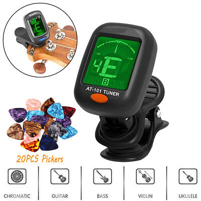LCD Clip-on Electronic Digital Guitar Tuner FIT Chromatic Violin Ukulele &Picker