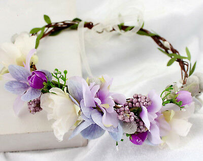 Women flower Girl wedding Purple bride Party Hair Headband Crown Prop Garland