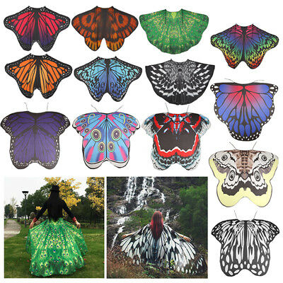 AU Adult Soft Fabric Butterfly Wings Shawl Fairy Ladies Pixie Costume Accessory