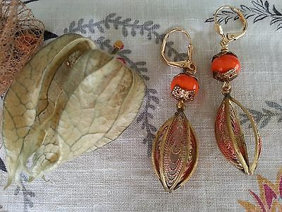 Vintage 'Chinese lantern' EARRINGS orange glass beads brass filigree open cage