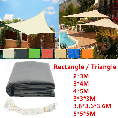 4 Colours Sun Shade Sail Garden Patio Awning Canopy 98% UV Block with Ropes UK