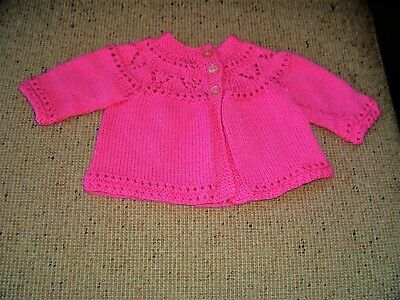 New Hand  Knitted   Baby Jacket Bright Pink 3 -6 Months   App