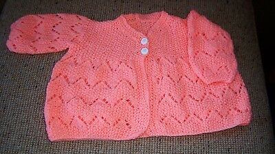 New Hand  Knitted   Baby Jacket Bright Apricot 1 - 2  Years  App