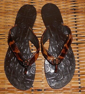4feaf7e6a TORY BURCH THORA Flip Flop Thong Sandals Bleach White Leather Gold ...