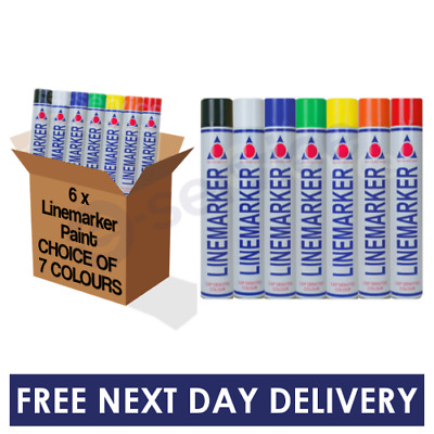 6 PACK of Line Marking Marker Paint Aerosol Spray Car Park Road Field Warehouse