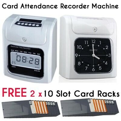 Digital Time Attendance Clock Recorder Timecards Payroll Cards + Free Card Racks