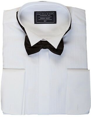 """SIZE 16 /"""" COLLAR 41CMS NEW WHITE WING COLLAR SHIRT /& BLACKBOW TIE FACTORY SECOND"""