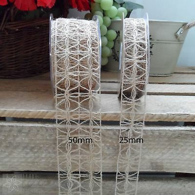 Wired Hessian Lace Trim Vintage Wedding Craft Ribbon - 25 or 50mm