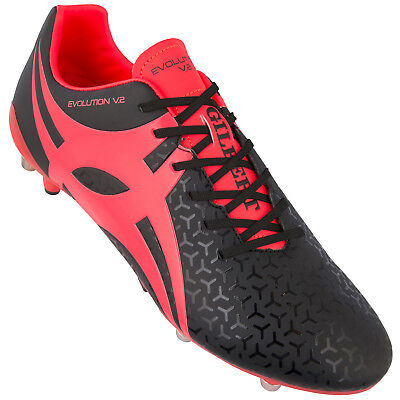 Clearance Line New Gilbert Rugby Evolution Rugby Boots Black/ Hot Red Size 11